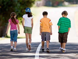 Kids walking image